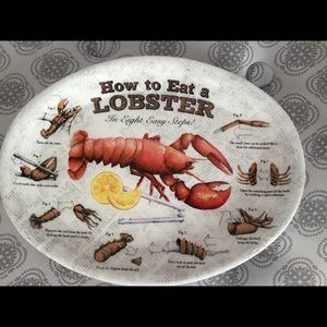 """Other - (4) MELAMINE OVAL PLATTERS """"HOW TO EAT A LOBSTER"""""""